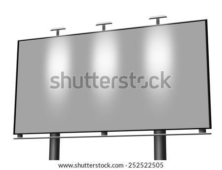 Blank city billboard isolated on white background - stock photo