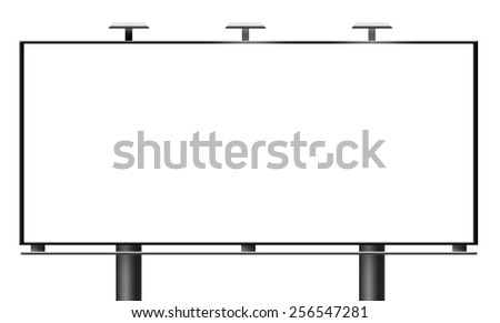 Blank city billboard isolated on white background - stock photo