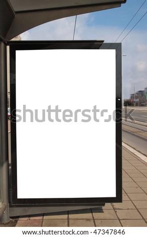 blank city light on bus stop - stock photo