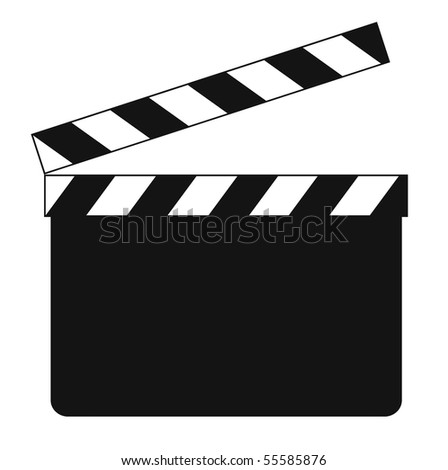 Blank clapboard (illustration) isolated on white background - stock photo