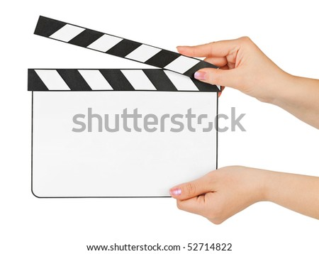 Blank clapboard in hands isolated on white background - stock photo
