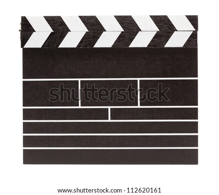 Blank clapboard isolated on white. - stock photo