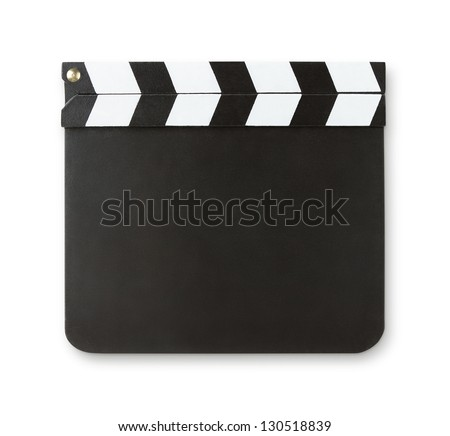 Blank clapboard isolated on white background with copy space and clipping path - stock photo