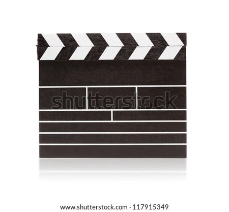 Blank clapboard isolated on white with slight reflection. - stock photo