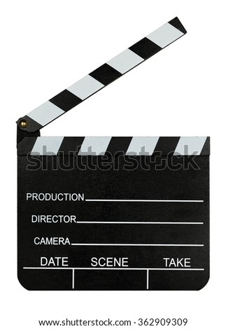 blank clapperboard isolated on white