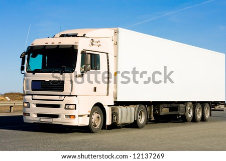 "blank clean truck on blue clouded sky background  - See similar images of this ""Business vehicles"" series in my portfolio"