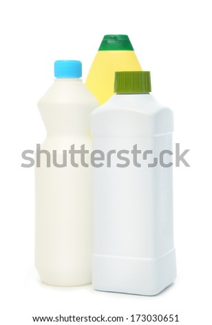 Blank cleaning supplies on white - stock photo