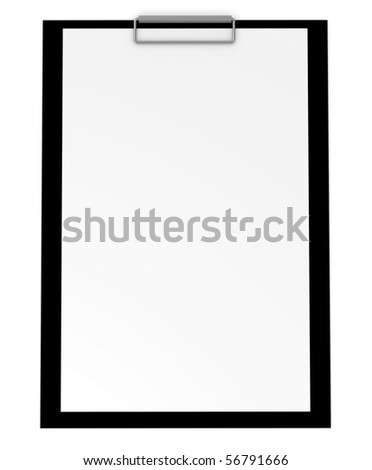 Blank clipboard isolated on white - 3d illustration - stock photo