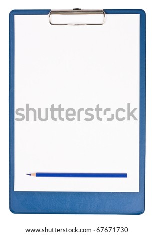 Blank clipboard isolated on white with blue pencil - stock photo