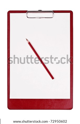 Blank clipboard isolated on white with red pencil