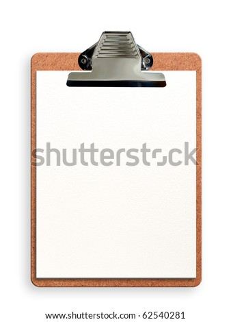 Blank clipboard isolated on white with soft shadow