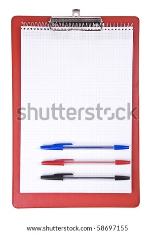 Blank clipboard with a pen isolated on white - stock photo