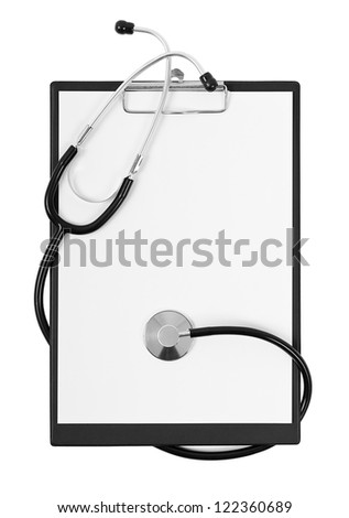 Blank clipboard with modern stethoscope, space for messages isolated on white background - stock photo