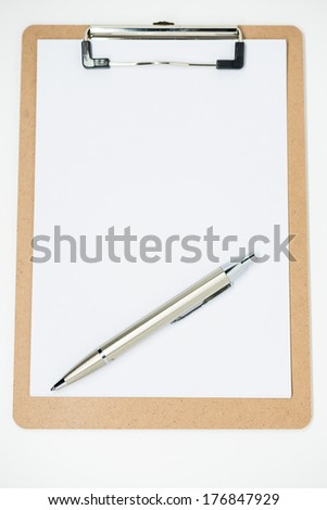 Blank clipboard with Pen