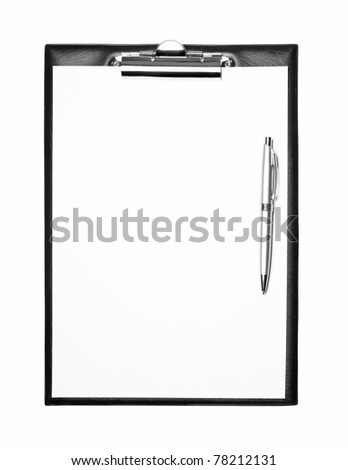 Blank clipboard with pen isolated on white - stock photo