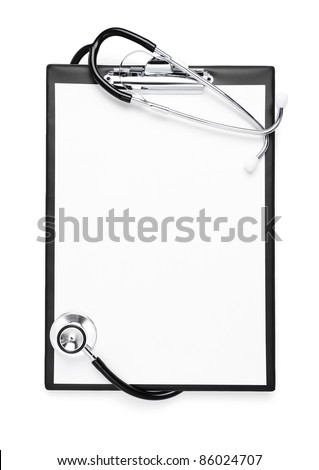 Blank clipboard with stethoscope isolated on white with clipping path - stock photo