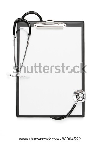 Blank clipboard with stethoscope isolated with clipping path - stock photo