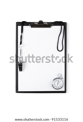 Blank clipboard with whistle and stopwatch - stock photo