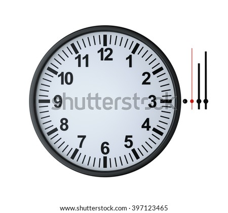 blank clock face with numbers , plus hour, minute and second hands , 3d render - stock photo