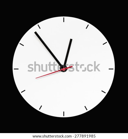 Blank clock on isolated. Abstract clock isolated. Empty clock isolated. No time clock object. White clock isolated. Abstract time clock. Wall watch isolated. Classic clock style. Vintage clock style. - stock photo