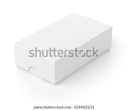 Blank closed box package for mobile phone isolated on white background