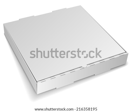 Blank closed cardboard pizza box isolated on white background. - stock photo