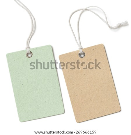Blank cloth price tag or label set isolated on white - stock photo