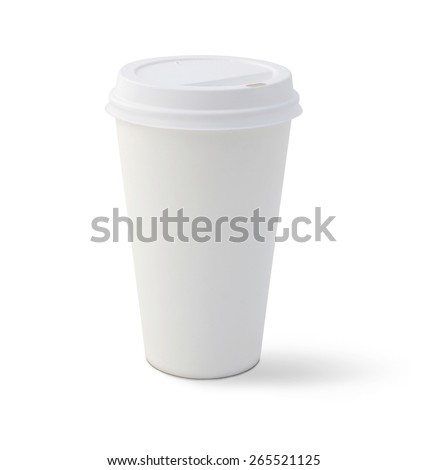 Blank coffee cup, isolated on a white background. - stock photo