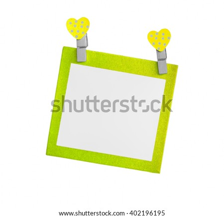 Blank color paper isolated use for insert text isolated on white background. - stock photo