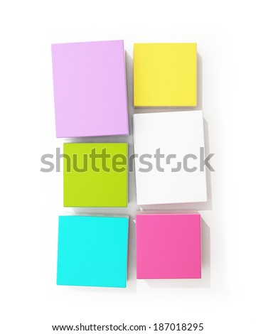 blank colorful boxes isolated on white background
