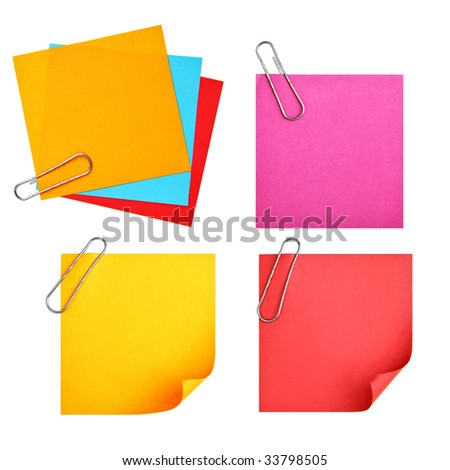 Blank colorful papers with clip isolated over white background - stock photo