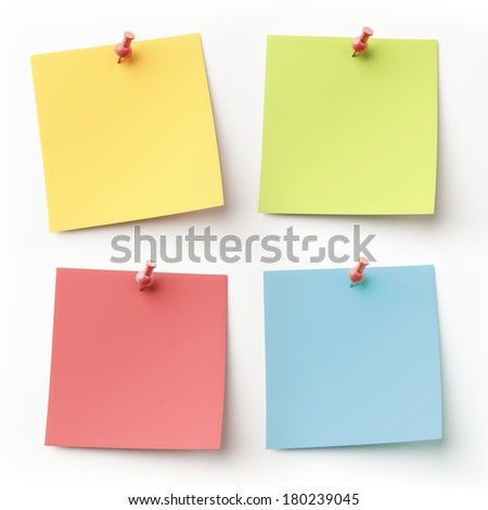 Blank Colorful Sticky Notes isolated on white - stock photo