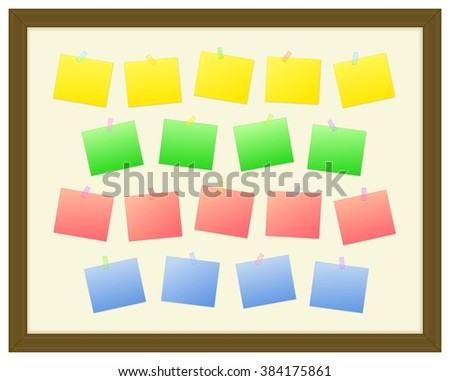 Blank Colorful Sticky Notes with Translucent Masking Tape on a Wood Border Notice Board Illustration