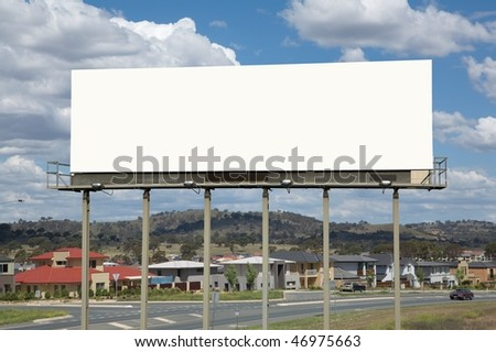Blank commercial billboard city on background