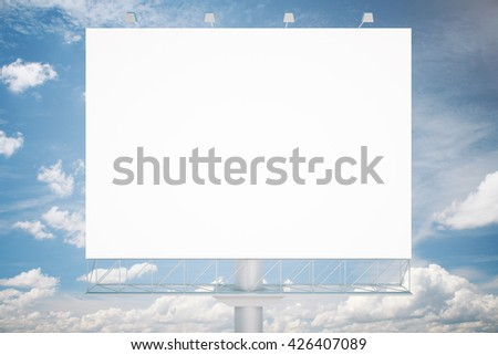 Blank commercial billboard withclear sky in the background. Mock up, 3D Rendering - stock photo