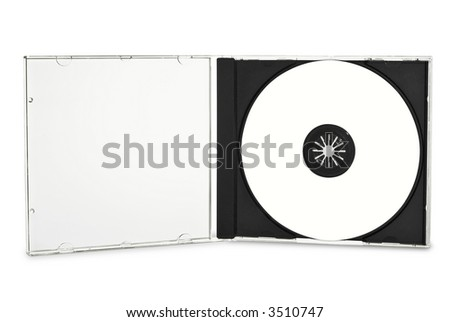 Blank compact disc in open case. (with clipping path) - stock photo