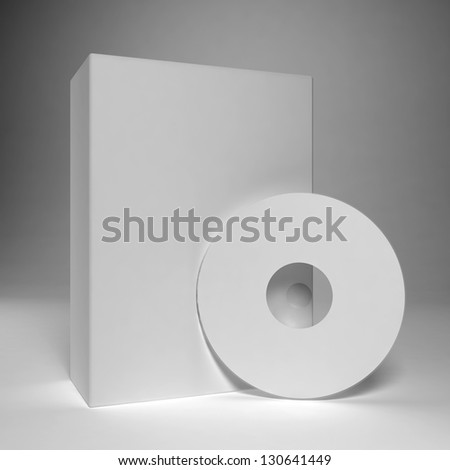 Blank compact disk with box - stock photo