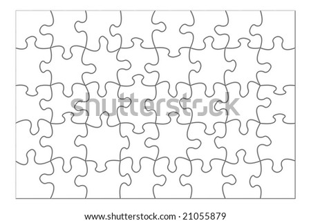 Blank  complete puzzle isolated over white background