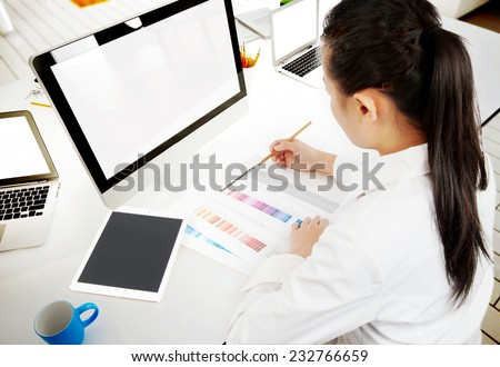 Blank computer and working people, used to design. - stock photo