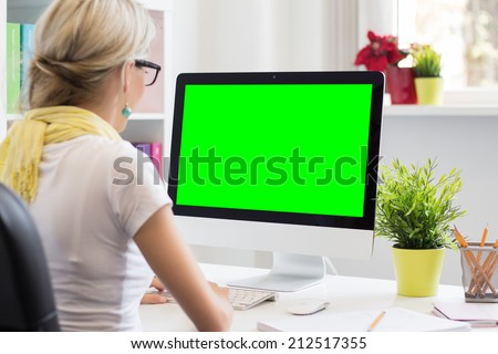 Blank computer display for your own presentation or business concept - stock photo