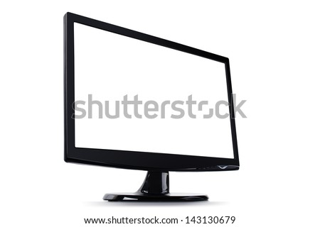 Blank computer monitor, Wide screen isolated on white background - stock photo
