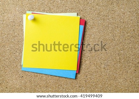 Blank copy space of colorful memo papers with brown cork board background           - stock photo