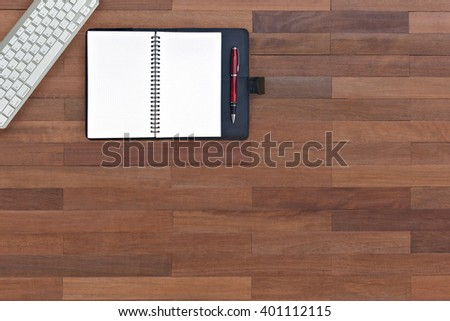 Blank copybook template with elastic band and bookmark. A leather book(diary, note)  top view. - stock photo