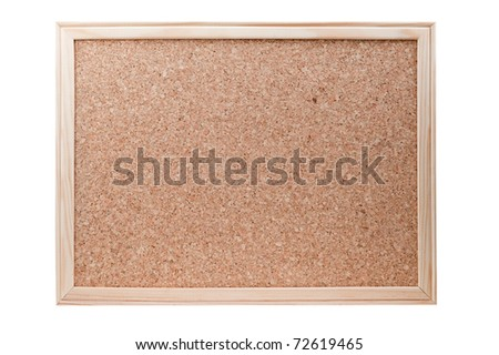 Blank cork board with a wooden frame isolated on a white background