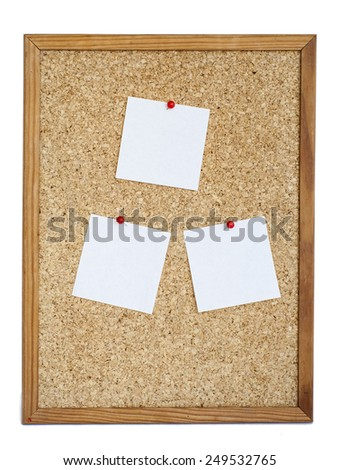 Blank Cork board with notices - stock photo