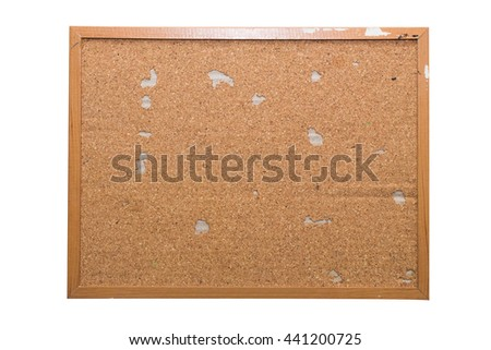 Blank Cork board with wooden frame isolated on white - stock photo