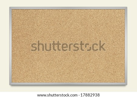 Blank Cork message board with aluminum frame - stock photo