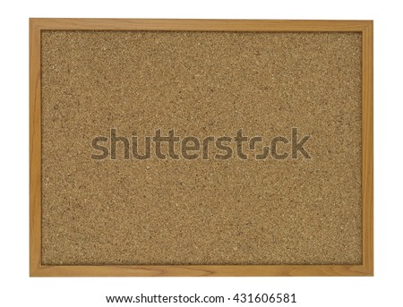 Blank cork wooden board isolated on white background - stock photo