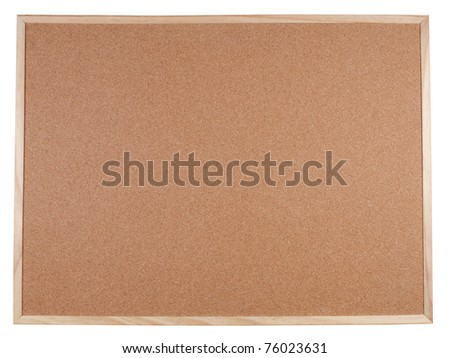 Blank corkboard with a wooden frame isolated - stock photo