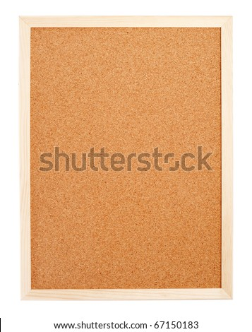 Blank corkboard with a wooden frame isolated on white - stock photo